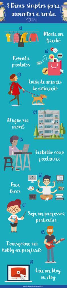 9 Dicas simples para aumentar a renda - Blog da Mimis #rendaextra #extra #job #trabalho #tips #dicas