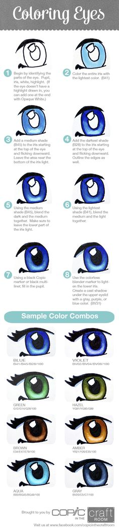 Coloring eyes with Copic markers - includes some color suggestions Copic Pens, Copic Art, Copics, Prismacolor, Colouring Pages, Adult Coloring Pages, Coloring Books, Coloring Tips, Colouring Techniques