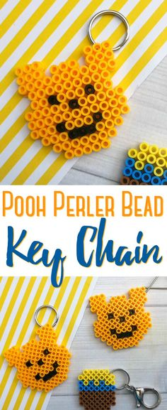 This Pooh Perler Bead Keychain is simple to make and surprisingly cute to make year round! They are a fun way to keep kids busy on hot or rainy days! Plastic Bead Crafts, Plastic Beads, Hama Beads Patterns, Beading Patterns, Perler Bead Disney, M Craft, Crafts For Kids To Make, Kids Diy, Peler Beads