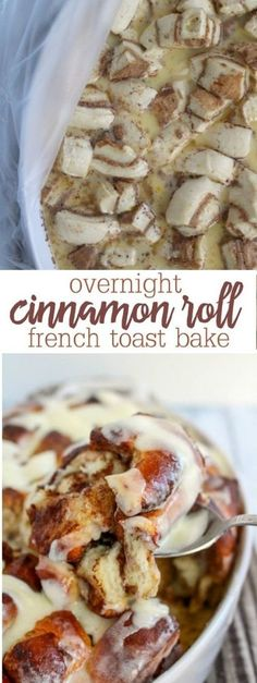This Overnight Cinnamon Roll French Toast Bake Gives You All The Ooey Gooey Good. - This Overnight Cinnamon Roll French Toast Bake Gives You All The Ooey Gooey Goodness Of Warm Cinnam - Crockpot French Toast, Cinnamon French Toast Bake, Baked French Toast Overnight, Overnight French Toast Casserole, Cinnamon Club, Overnight Cinnamon Rolls, Cinnamon Roll Casserole, Breakfast Casserole French Toast, Sweet Breakfast