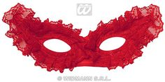 Our Lace Eyemask Red features a Red elegant Eyemask which is accented with red lace all over and has a gold embroidered trim around the edging. An elasticated band secures the mask in place. Elegant Masquerade Mask, Red Lace, Eye Masks, Colours, Band, Red Ribbon, Sash, Bands