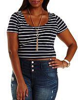 Plus Size Lace-Back Striped Crop Top