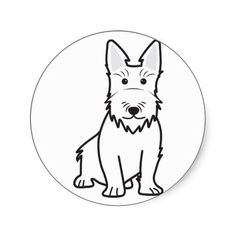 Scottish Terrier Dog Cartoon Stickers