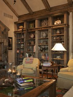 rustic bookcases. love... Might have to call off the search for the perfect bookcase and do a built in...