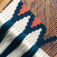 Finished with my half-moon-shaped weaving, but since it only took up half the loom, working on this design on the other end so there is no wasted warp (that could be a new hashtag ) Weaving Textiles, Weaving Art, Loom Weaving, Tapestry Weaving, Hand Weaving, Weaving Designs, Weaving Projects, Weaving Patterns, Crochet Patterns