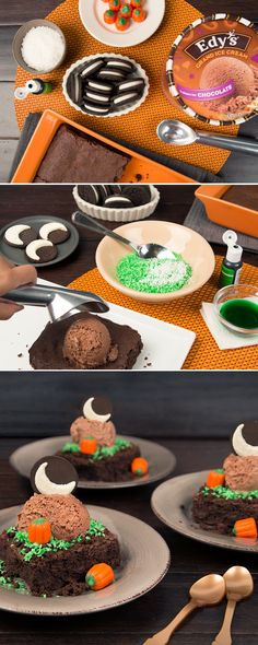 Edy's Halloween Moon: This dessert recipe isn't spooky, it's scrumptious! Place a brownie on a plate. In a plastic bag add 1 cup dried coconut flakes, a few drops of green food coloring, and 1 tbsp. of water — shake everything together, then poor it into a bowl to dry. Once dried, sprinkle the coconut on the brownie & place a scoop of Grand Chocolate Ice Cream on top. Add pumpkin candy corn on the brownie. The finishing touch: A cookie wedged into the Ice Cream to resemble a crescent moon!