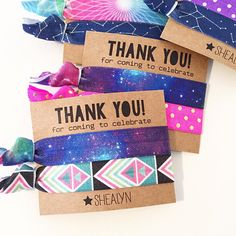 Outer Space Birthday Party Hair Tie Favors Custom Hair Tie