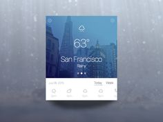 Weather Widget by Blake Mattos—The Best iPhone Device. Web Design, Tool Design, Flat Design, Material Design, Card Ui, Mobile Ui Design, User Experience Design, Ui Inspiration, User Interface Design