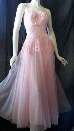 Stunning SHEER pale rose pink Vintage 1950's VANITY FAIR nightgown