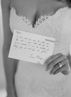 love note before the wedding...