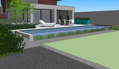 Tuinen in ontwerp - tuinarchitect creatief in groen   Moderne tuin met overloop zwemvijver   Oostende