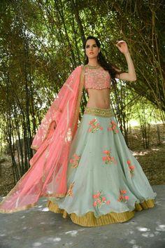 Pastel green and Fuschia pink Georgette zardosi and resham work wedding wear Indian wear Bridal Lehenga choli Bride Reception Engagement Indian Lehenga, Indian Wedding Lehenga, Indian Wedding Outfits, Bridal Lehenga, Indian Outfits, Mehendi Outfits, Indian Clothes, Bridal Outfits, Western Outfits