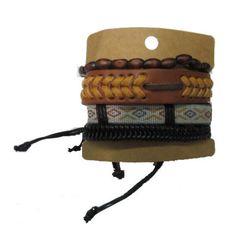 Brown Wood Beads Bracelets Set GBR10048