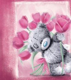 Tatty Teddy with Pink Roses Me to You Bear Card Tatty Teddy, Best Birthday Wishes, Happy Birthday, Cute Images, Cute Pictures, Teddy Bear Pictures, Teddy Photos, Blue Nose Friends, Bear Card