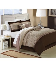 Taupe Bella Rose Embroidered Comforter Set | zulily