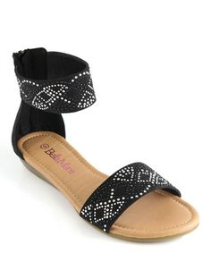 Love this Black Rhinestone Sony Ankle-Strap Sandal by Bella Marie on #zulily! #zulilyfinds