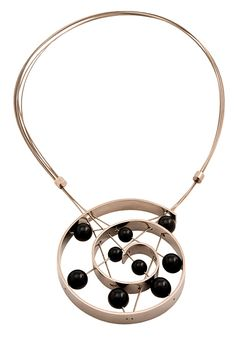 Modern Jewelry // Necklace with titanium grade 2, onyx, and steel wire by Jorge Gil