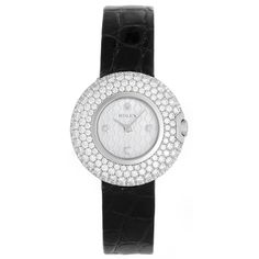 Rolex Lady's White Gold and Diamond Cellini Orchid Wristwatch Ref 6201/9 | From a unique collection of vintage wrist watches at https://www.1stdibs.com/jewelry/watches/wrist-watches/