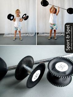 DIY for children; Heavy weight barbell or dumbells made from paper plates and TP rolls . - DIY for children; Heavy weight barbell or dumbells made of paper plates and TP Rolls . Carnival Themes, Circus Theme, Carnival Booths, Preschool Circus, Theme Sport, Diy For Kids, Crafts For Kids, Olympic Crafts, Creative Curriculum