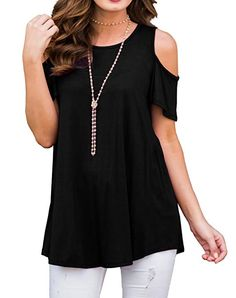 1588d72d68b4 PrinStory Women's Short Sleeve Casual Cold Shoulder Tunic Tops Loose Blouse  Shirts at Amazon Women's Clothing