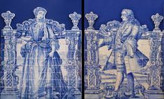 """Azulejo's Welcoming Characters from the late Nolasco Collection (Cascais).  18th century barroque 177cm/145cm x2"