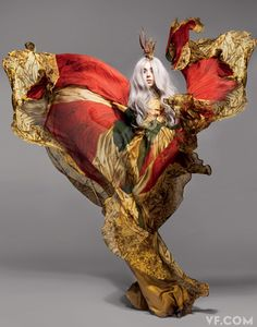 Surely I could find somewhere to wear this?? (maybe minus the crown?)  Alexander McQueen silk gown (model: Lady Gaga; photo: Nick Knight, for Vanity Fair, Sept 2010).