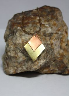 Copper and Brass Diamonds Pendant by StellarFusion on Etsy, $15.00