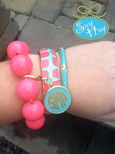 Preppy Enamel Monogram Bracelet Set.