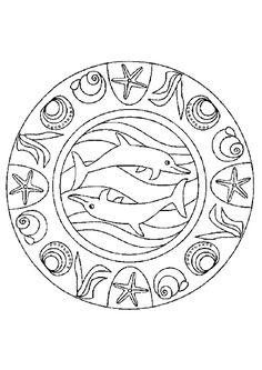 Coloriage mandala dauphins sur Hugolescargot.com - Hugolescargot.com