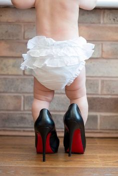 Love my babies little chunky thighs. Louboutins. Six month photo shoot by Kayleigh pope photography. Cute