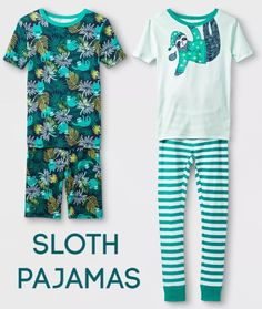 So lovely to see some boys pajamas that are colorful and playful. This set is awesome because it is so versatile - mix and match the two tops with the shorts or pants. Plus what boy doesn't want to be a sloth at times? Sloth Pajamas, Boys Pajamas, Pajamas Women, Pyjamas, Baby Sloth, Cute Sloth, Sloth Sleeping, Gifted Kids, Sleep Shirt