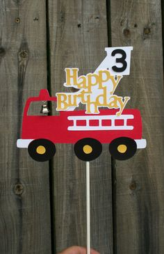 Items similar to Red Fire Truck -Happy Birthday Cake Topper on Etsy Fireman Sam Birthday Cake, Fireman Party, Happy Birthday Cake Topper, Cool Birthday Cakes, Boy Birthday, Birthday Parties, Firefighter Birthday, Transportation Birthday, Cake Decorating Tutorials