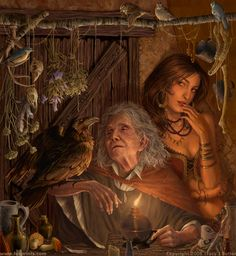 A witch's familiar, a crow. A maiden and a crone working herb magick. Baba Yaga, Vampires, Tarot, Photo Chat, Mystique, Gods And Goddesses, Mythology, Fantasy Art, Fantasy Figures