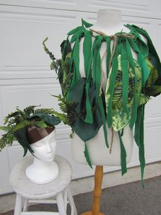 Upcycled Clothing, Jungle Costume, Jungle Cape and Headpiece, The Jungle Book, Eco