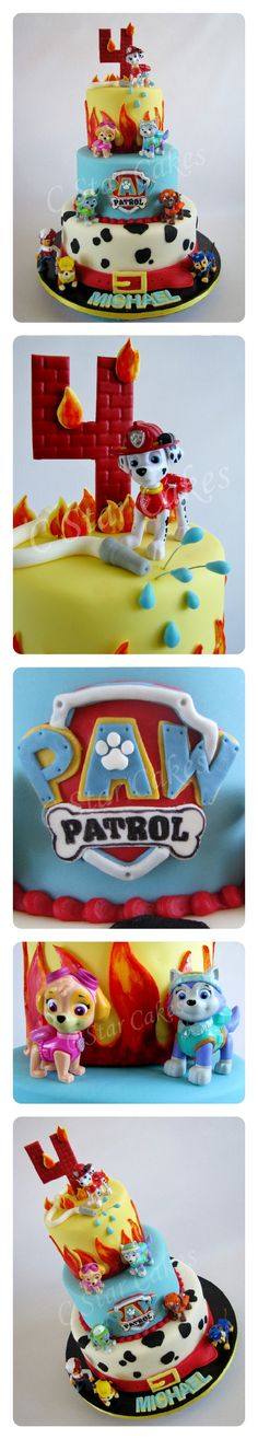 Paw Patrol cake by C Star Cakes. Fondant and toy figurine decorations.