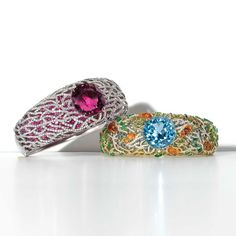 The thrilling colours and fascinating diversity of a tropical coral reef are captured in two Tiffany & Co. Blue Book collection cuff bracelets. A 21.04ct aquamarine glows at the centre of the multi-coloured cuff, while a magnificent 32.05ct rubelite crowns a lattice of diamonds that sit on a sea of pink sapphires.