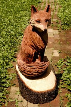 Wood fox carving