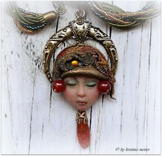 OOAK jewelry pendant necklace Art Doll Face ELF by KristiinaMeiner
