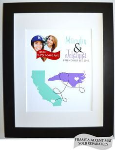 unique best friend moving away gift ideas custom, any two state maps names and colors, $30.00