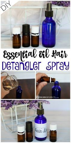 DIY Essential Oil Hair Detangler Spray If you're dealing with tangling hair and knots, try this simple hair detangler spray. You only need witch hazel, a nourishing oil and essential oils to make it and it works like a charm. Essential Oil Spray, Essential Oils For Hair, Essential Oil Blends, Doterra, Diy Hair Detangler, Tangled Hair, Buch Design, Barbershop, Sprays