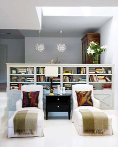 Side by side chaises - reading nook.  For the living room area open into the dining