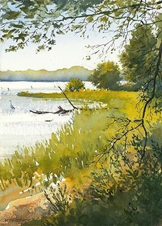 art acuarela Morning Shore by Richard Sneary Watercolor ~ x Watercolor Landscape Paintings, Watercolor Trees, Watercolor Sketch, Watercolour Painting, Landscape Art, Painting & Drawing, Simple Watercolor, Tattoo Watercolor, Watercolors