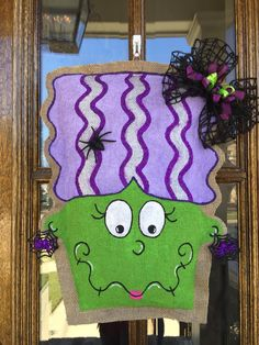 Frankenstein's Bride Burlap Door Hanger Burlap Halloween, Halloween Signs, Halloween Crafts, Halloween Decorations, Halloween Ideas, Burlap Door Decorations, Burlap Door Hangings, Burlap Projects, Burlap Crafts