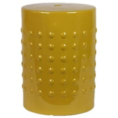 Ceramic garden stool with studded motif.Product: StoolConstruction Material: CeramicColor: YellowDimensions: 18 H x 13 Diameter Cleaning and Care: Wipe with clean damp cloth Ceramic Stool, Ceramic Garden Stools, Hand Painted Stools, Happy Pop, Vanity Stool, Soothing Colors, Joss And Main, Decorative Objects, Pillar Candles
