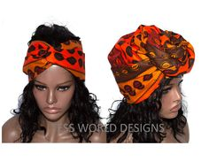 HT46L - Extra long African Head Wraps, Fabric from Africa, red cowrie