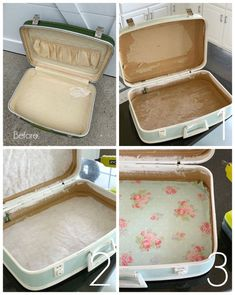 Vintage Suitcase Makeover - Another! Vintage Suitcases, Vintage Luggage, Vintage Suitcase Decor, Furniture Makeover, Diy Furniture, Plywood Furniture, Modern Furniture, Furniture Design, Repurposed Furniture