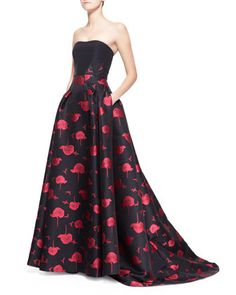 Bee & Floral Jacquard Strapless Ball Gown by Carolina Herrera at Bergdorf Goodman.