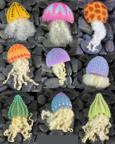 https://flic.kr/p/kuGsog | Jellyfish Brooches - Needle Felt | Working on putting together a class for this so doing a lot of construction experiments and some lesser experiments (so far) with types of tentacles. Jellyfish really come in quite a wide variety. Some tentacles look a lot like kelp and others are very fine - it's been quite interesting studying them for this project.