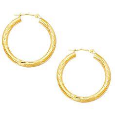 10K Yellow Gold Diamond Cut Design Round Shape Hoop Earrings - JewelryAffairs  - 1