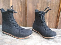 Handfelted boots NOIRE by woolicity on Etsy, $270.00
